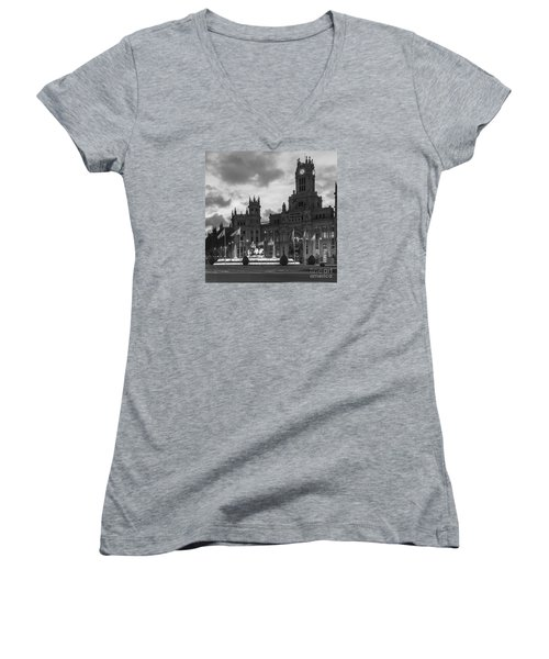 Plaza De Cibeles Fountain Madrid Spain Women's V-Neck (Athletic Fit)