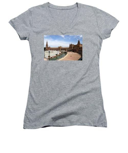 Women's V-Neck T-Shirt (Junior Cut) featuring the photograph Plaza De Espana 4 by Andrew Fare