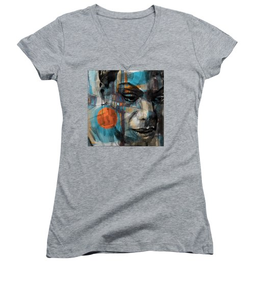 Women's V-Neck T-Shirt (Junior Cut) featuring the mixed media Please Don't Let Me Be Misunderstood by Paul Lovering