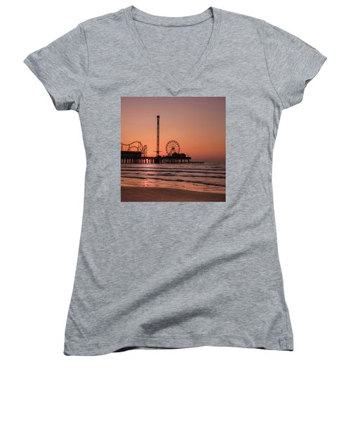 Pleasure Pier At Sunrise Women's V-Neck