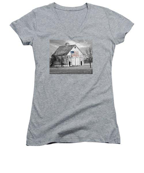 Pledge Of Allegiance Crib Women's V-Neck T-Shirt (Junior Cut) by Kathy M Krause