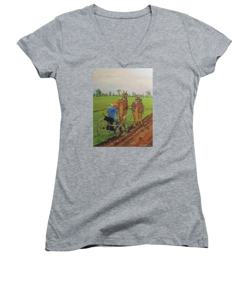 Plowing Match Women's V-Neck T-Shirt (Junior Cut) by David Gilmore