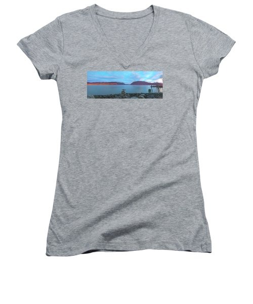 Plum Point Sunset Panorama Women's V-Neck T-Shirt (Junior Cut) by Angelo Marcialis