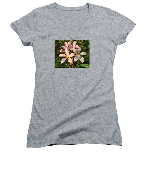 Plumeria Heaven Women's V-Neck T-Shirt (Junior Cut) by LeeAnn Kendall