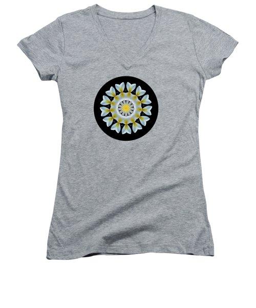 Plumeria Mandala By Kaye Menner Women's V-Neck T-Shirt (Junior Cut) by Kaye Menner