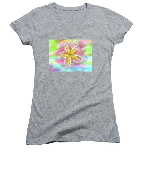 Plumeria Paradise Women's V-Neck (Athletic Fit)