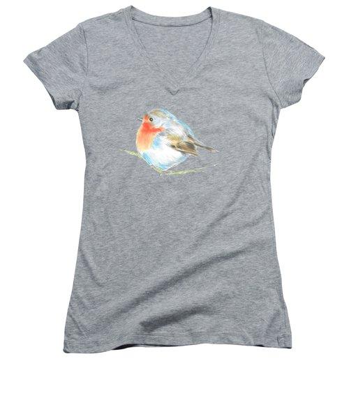 Plump Is Good  Women's V-Neck T-Shirt (Junior Cut) by Herb Strobino