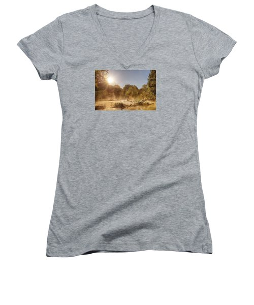 Plying Steamy Waters Women's V-Neck T-Shirt (Junior Cut) by Robert Charity