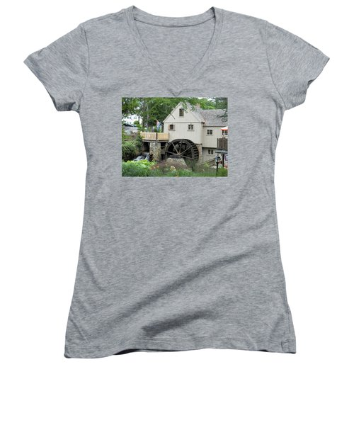 Plymouth Grist Mill Women's V-Neck T-Shirt