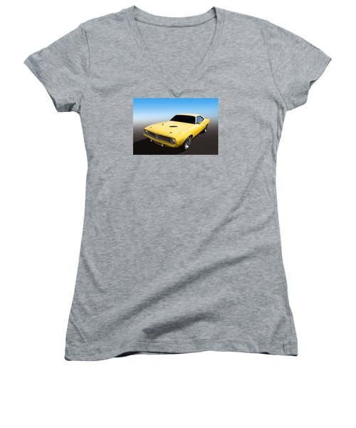 Plymouth Muscle Women's V-Neck T-Shirt (Junior Cut) by Keith Hawley