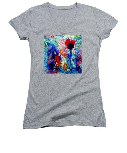 Pocket Full Of Horses 1 Women's V-Neck T-Shirt (Junior Cut) by Tracy Bonin