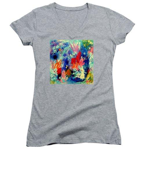 Pocket Full Of Horses 2 Women's V-Neck T-Shirt (Junior Cut) by Tracy Bonin