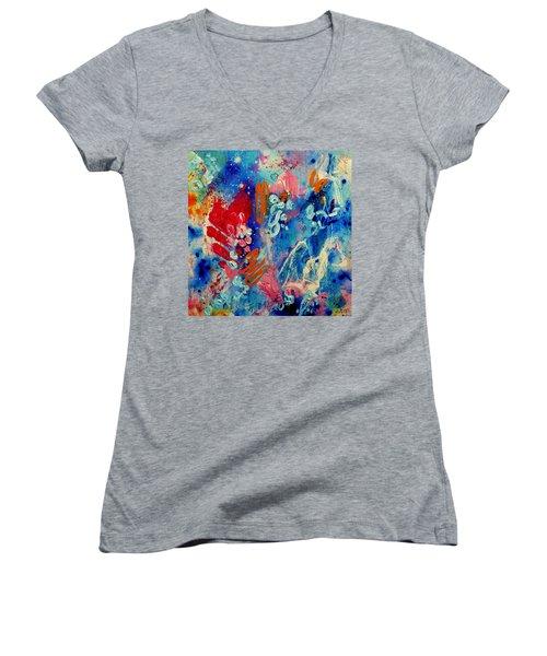 Pocket Full Of Horses 4 Women's V-Neck T-Shirt (Junior Cut) by Tracy Bonin