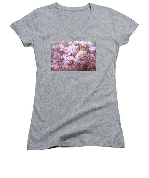 Women's V-Neck T-Shirt (Junior Cut) featuring the digital art Pocket Full Of Roses by Kari Nanstad