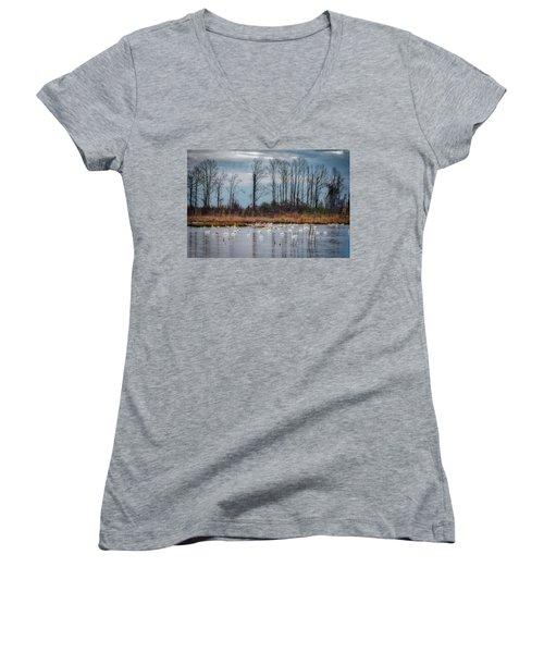 Pocosin Lakes Nwr Women's V-Neck T-Shirt (Junior Cut)