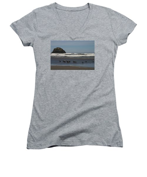 Poetry In Motion Women's V-Neck T-Shirt (Junior Cut) by Marie Neder