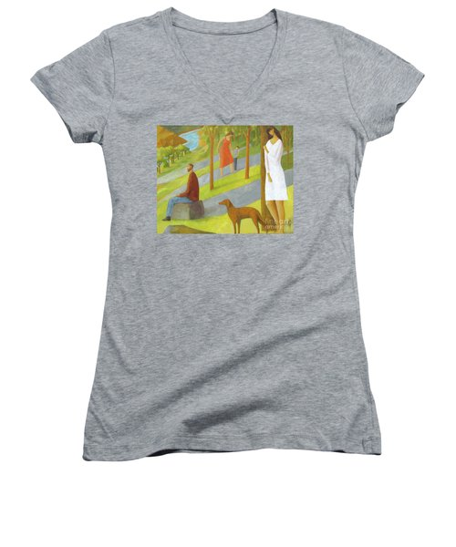 Women's V-Neck T-Shirt (Junior Cut) featuring the painting Poets Hill by Glenn Quist