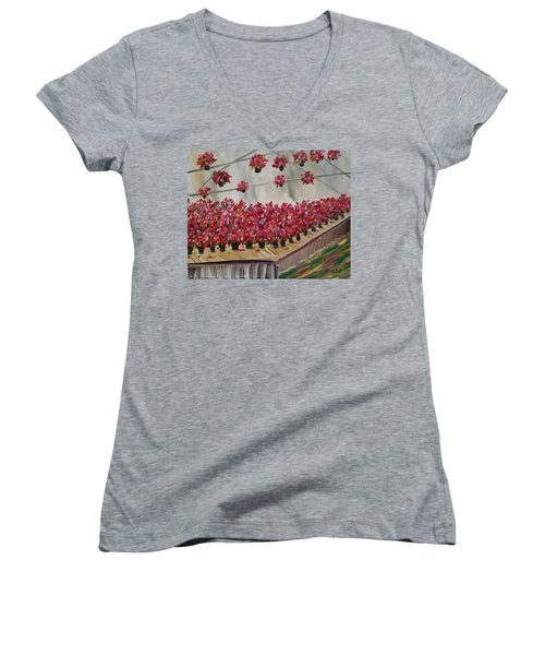 Poinsettia Greenhouse Women's V-Neck (Athletic Fit)