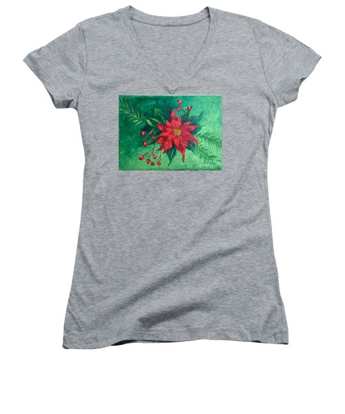 Poinsettia Women's V-Neck T-Shirt (Junior Cut) by Lucia Grilletto