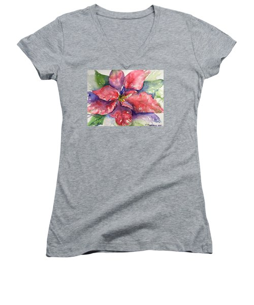 Poinsettia  Women's V-Neck (Athletic Fit)