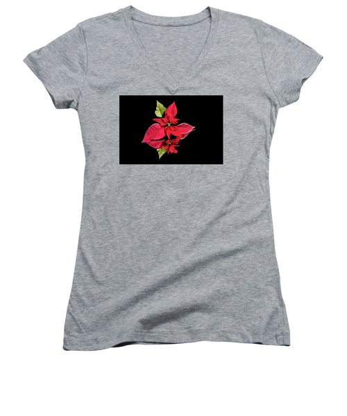 Poinsettia Reflection  Women's V-Neck