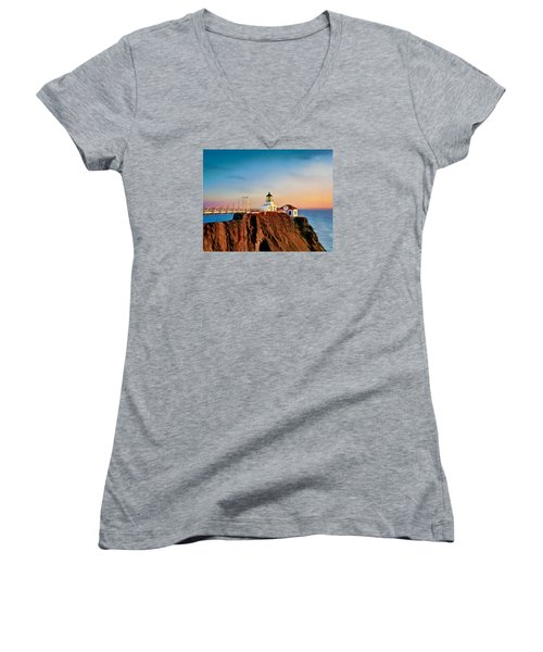 Point Bonita Lighthouse Women's V-Neck T-Shirt (Junior Cut) by Douglas MooreZart