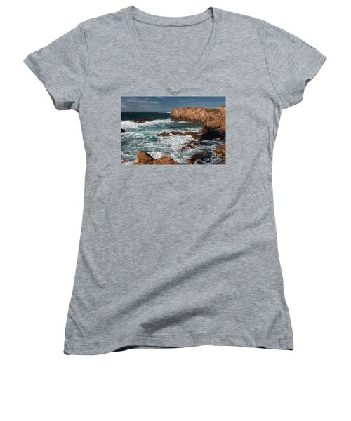 Point Lobos Women's V-Neck T-Shirt (Junior Cut) by Glenn Franco Simmons