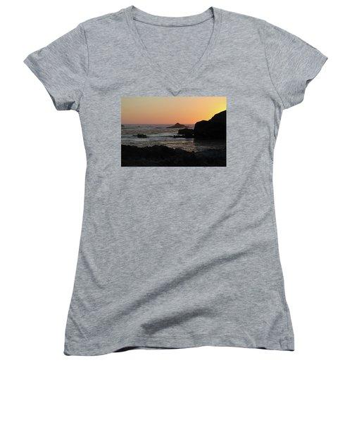 Women's V-Neck T-Shirt (Junior Cut) featuring the photograph Point Lobos Sunset by David Chandler