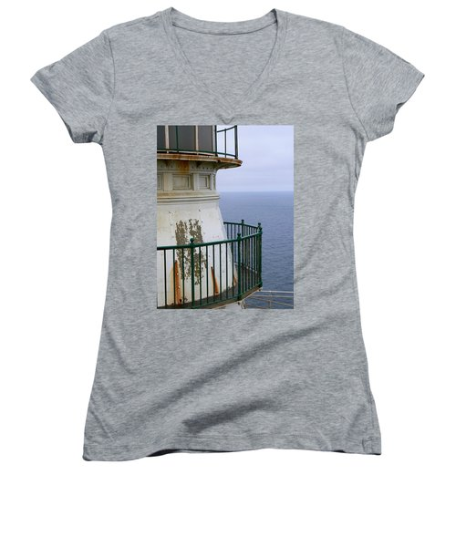 Point Reyes And The Pacific Ocean Women's V-Neck T-Shirt (Junior Cut) by Laurel Powell