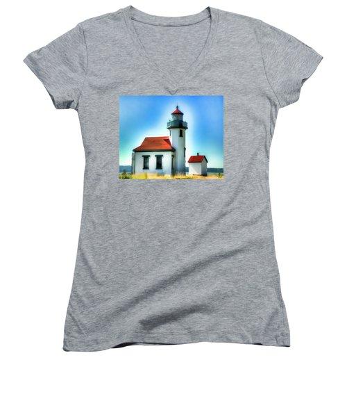 Point Robinson Lighthouse Women's V-Neck T-Shirt (Junior Cut) by Greg Sigrist