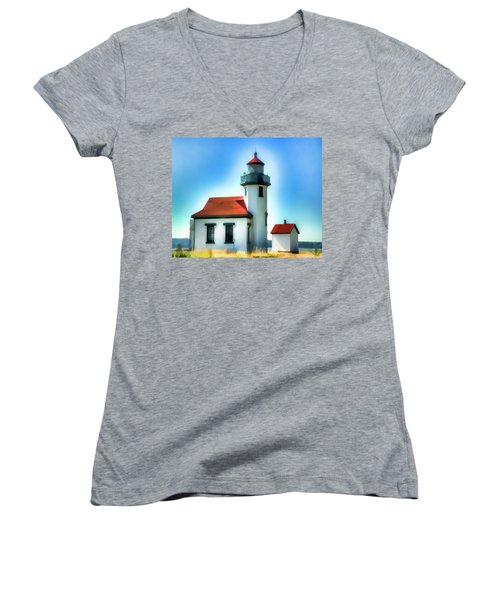 Point Robinson Lighthouse Women's V-Neck (Athletic Fit)