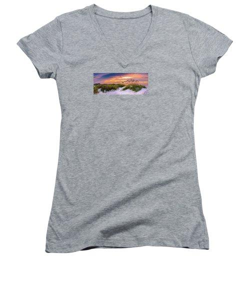 Point Sunrise Women's V-Neck T-Shirt (Junior Cut) by David Smith