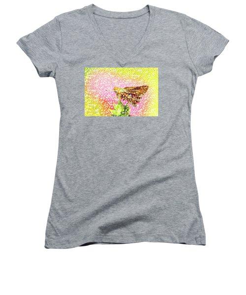 Pointelist Skipper Women's V-Neck T-Shirt (Junior Cut) by Wernher Krutein