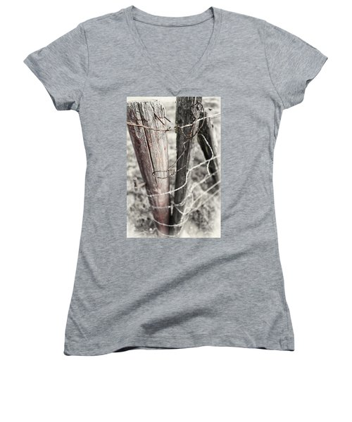 Women's V-Neck T-Shirt (Junior Cut) featuring the photograph Points And Posts by Caitlyn  Grasso