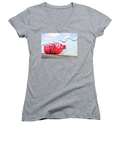 Women's V-Neck T-Shirt (Junior Cut) featuring the photograph Polar Bear In A Coke Bottle by Chris Dutton