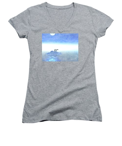 Women's V-Neck T-Shirt (Junior Cut) featuring the digital art Polar Bear On Iceberg by Phil Perkins