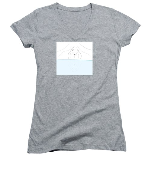 Polar Bear Reflection Women's V-Neck T-Shirt (Junior Cut) by Greg Slocum