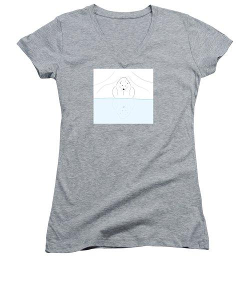 Polar Bear Reflection Women's V-Neck T-Shirt