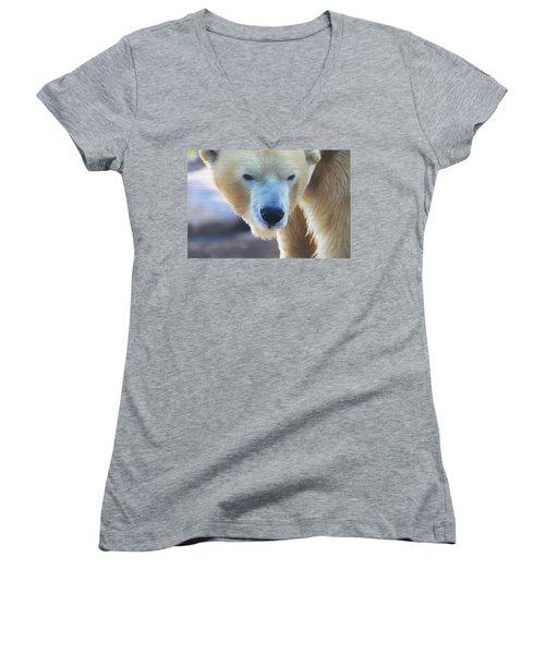 Polar Bear Wooden Texture Women's V-Neck T-Shirt (Junior Cut) by Dan Sproul