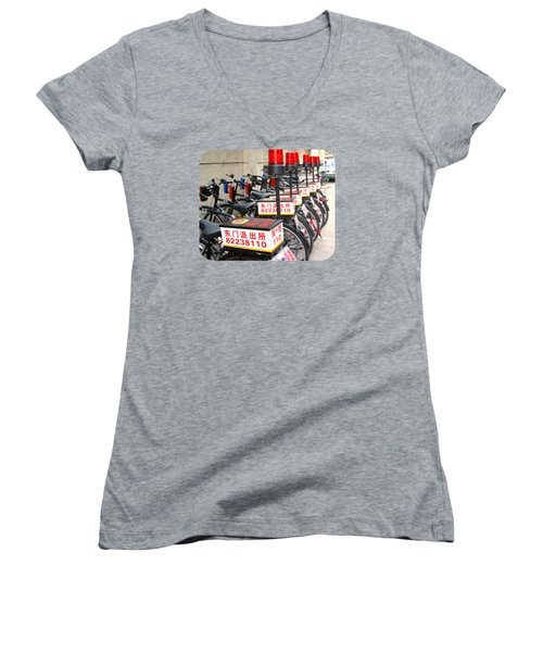 Police Bicycles Women's V-Neck T-Shirt (Junior Cut) by Ethna Gillespie