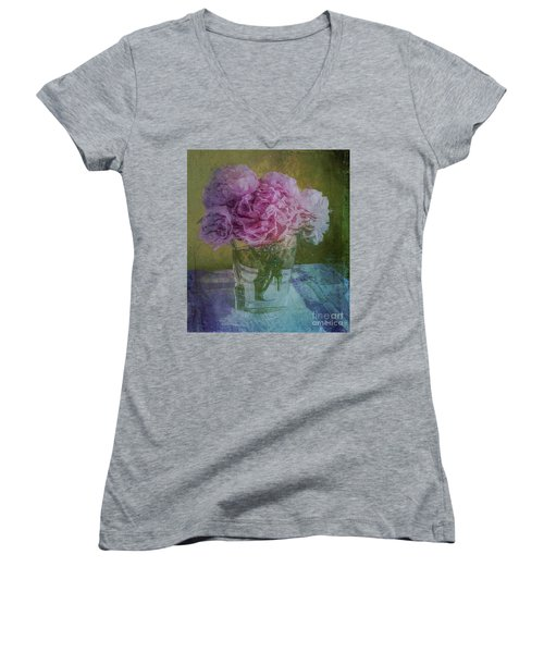 Polite Peonies Women's V-Neck T-Shirt (Junior Cut) by Alexis Rotella