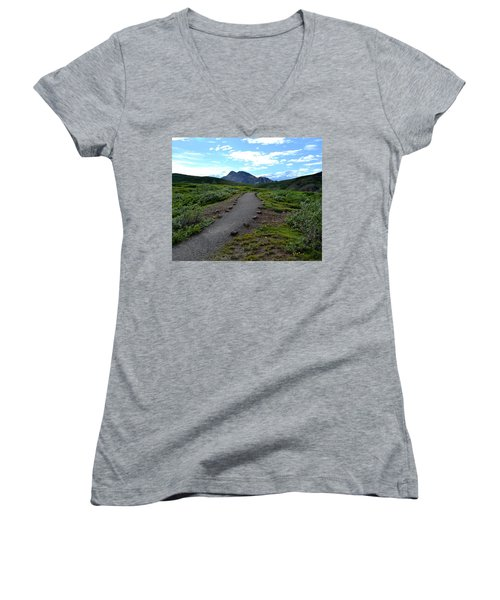 Polychrome Pass Trail, Denali Women's V-Neck T-Shirt (Junior Cut) by Zawhaus Photography
