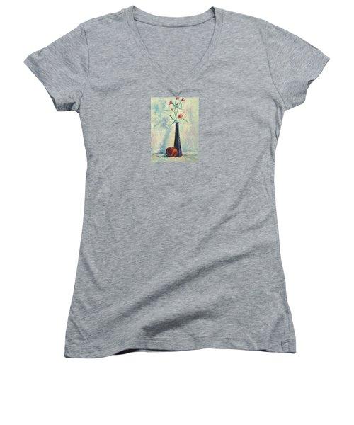 Pomegranate And Black Vase Women's V-Neck T-Shirt (Junior Cut)