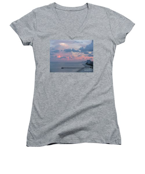 Pompano Pier At Sunset Women's V-Neck T-Shirt