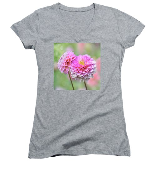 Women's V-Neck T-Shirt featuring the photograph Pompon Dahlias by John Poon