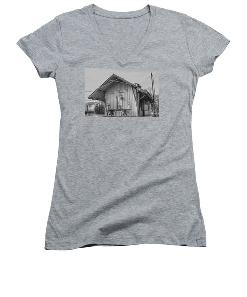 Pompton Plains Railroad Station And Baggage Cart Women's V-Neck