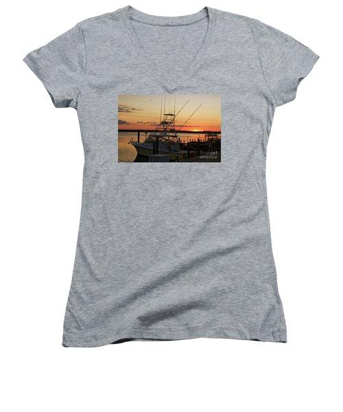 Ponce Inlet Sunset Women's V-Neck T-Shirt (Junior Cut)