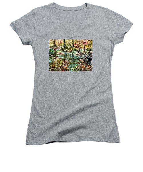 Pond And Beyond Women's V-Neck T-Shirt (Junior Cut) by Alfred Motzer