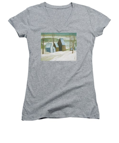 Women's V-Neck T-Shirt (Junior Cut) featuring the painting Pond Farm In Winter by Glenn Quist