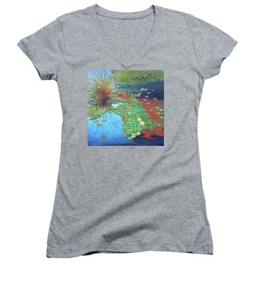 Pond Women's V-Neck T-Shirt (Junior Cut) by Gary Coleman